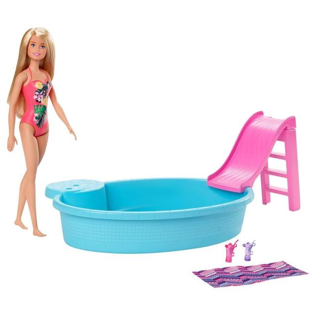 Obrázek produktu Mattel Barbie panenka blondýnka a bazén se skluzavkou, GHL91