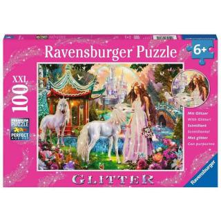 Obrázek 1 produktu Ravensburger 13617 Puzzle třpytivé Princezna s jednorožcem 100 dílků
