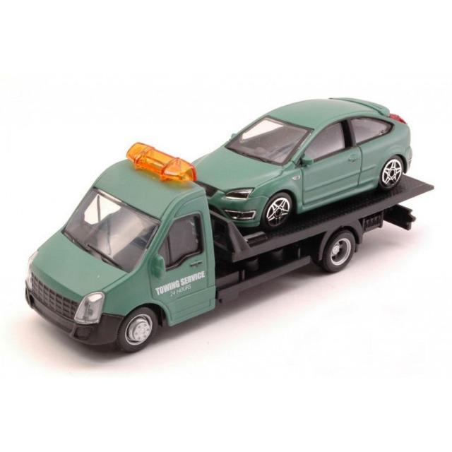 Obrázek produktu Burago Flatbed Transport 1:43 + Ford Focus ST zelené