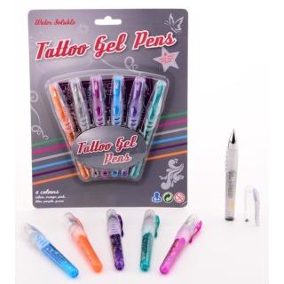 Obrázek 1 produktu Gelová tetovací pera + šablony 6 barev