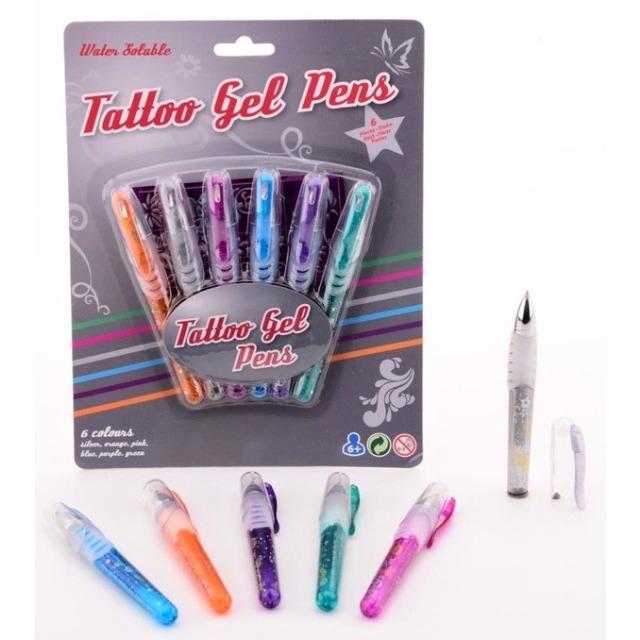Obrázek produktu Gelová tetovací pera + šablony 6 barev