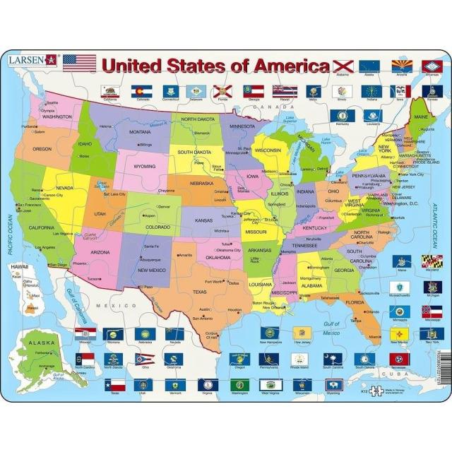 Obrázek produktu Larsen Puzzle Státy USA deskové 48 dílků
