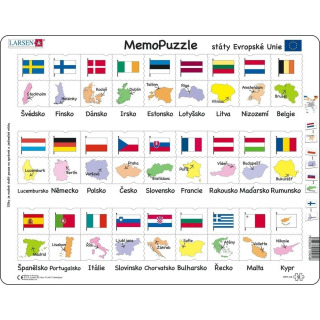 Obrázek 1 produktu Larsen Puzzle Memo Státy,hlavní města,vlajky deskové 54 dílků