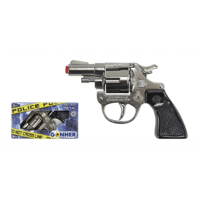 Obrázek produktu Gonher Policejní revolver kovový stříbrný 8 ran, 13 x 8,5 cm