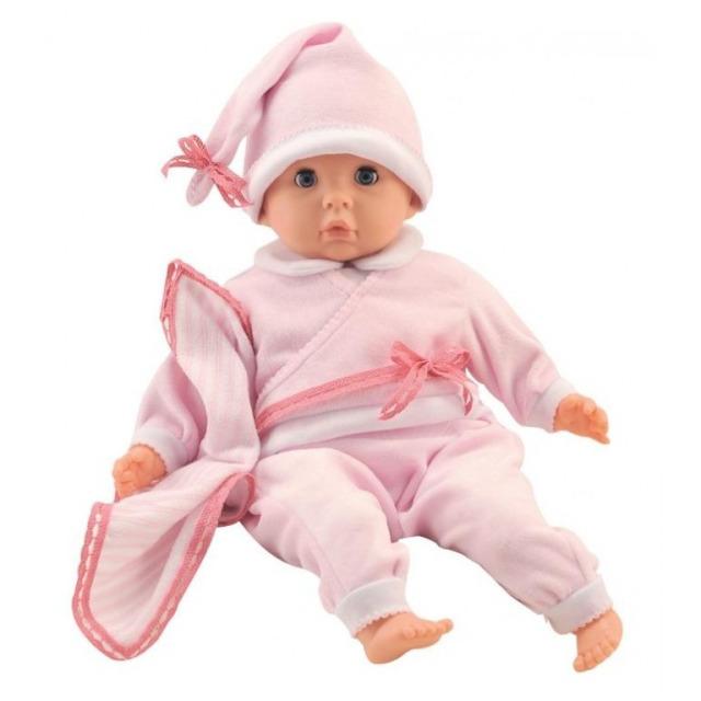 Obrázek produktu Panenka Bambolina miminko v růžovém pyžámku s bryndáčkem 48cm