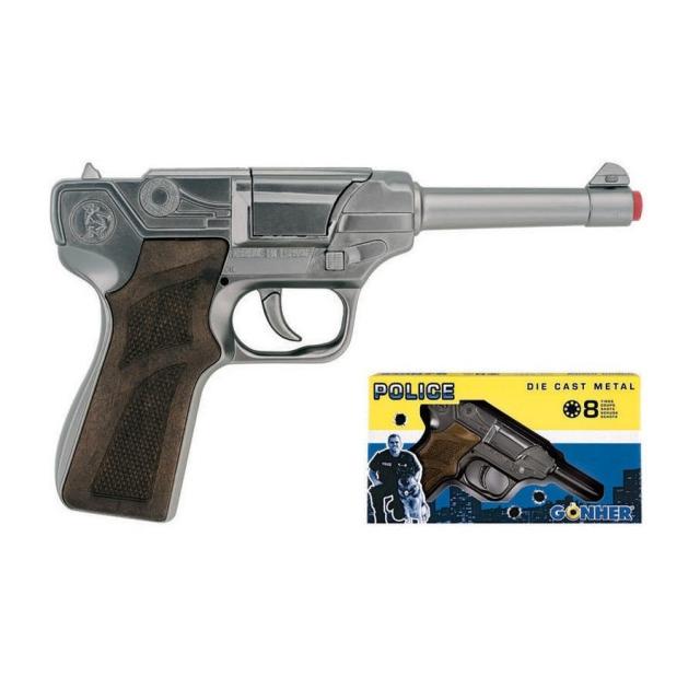 Obrázek produktu Gonher policejní pistole stříbrná kovová 8 ran