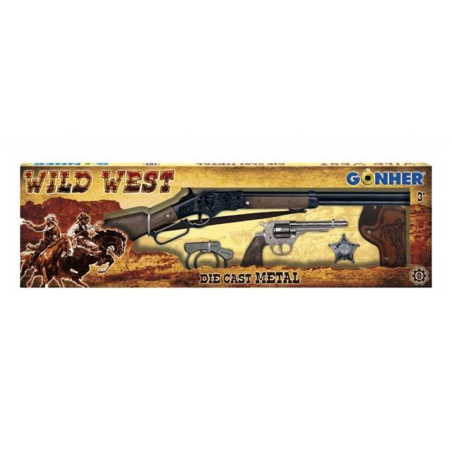 Obrázek produktu Gonher Kovbojská sada velká - puška, revolver, pouta, šerifská hvězda