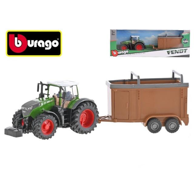Obrázek produktu Bburago Fendt 1000 Vario traktor 13cm s přívěsem na setrvačník