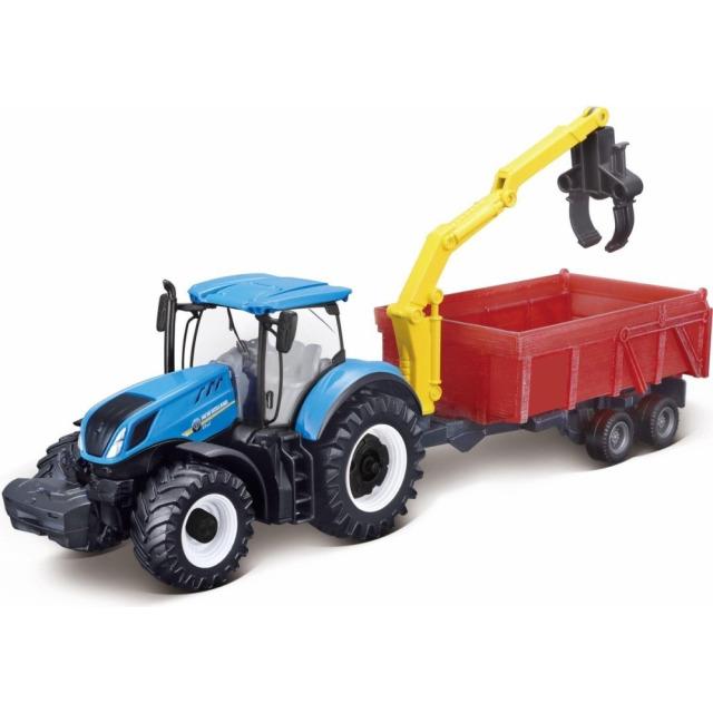 Obrázek produktu Bburago New Holland T3.315 traktor 12cm s vlečkou na setrvačník