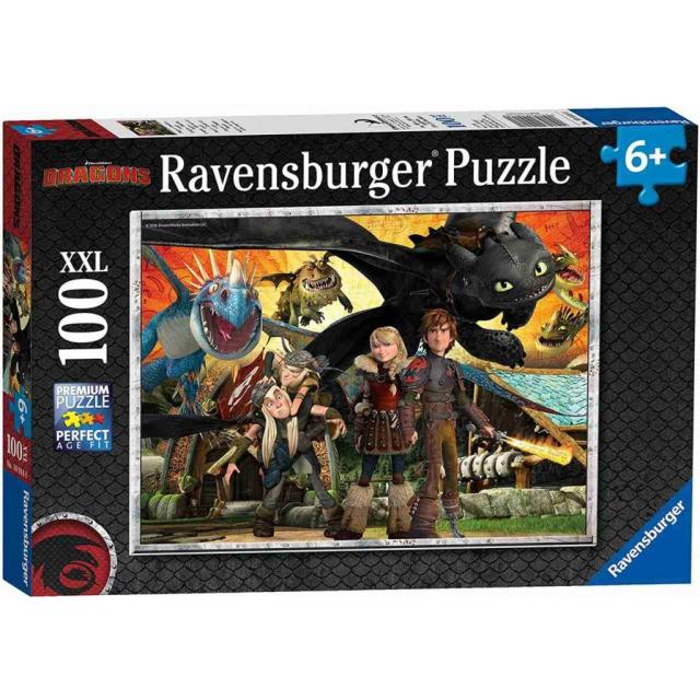 Obrázek produktu Ravensburger 10918 Puzzle Jak vycvičit Draka - Dračí přátelé XXL 100 dílků