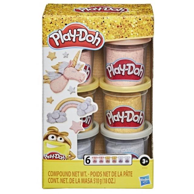 Obrázek produktu Play Doh Sada 6 kelímků třpytivá zlatá, stříbrná a růžová, Hasbro E9433