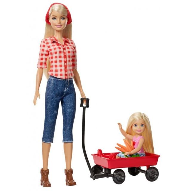 Obrázek produktu Barbie farmářka a Chelsea s vozíčkem, Mattel GCK84