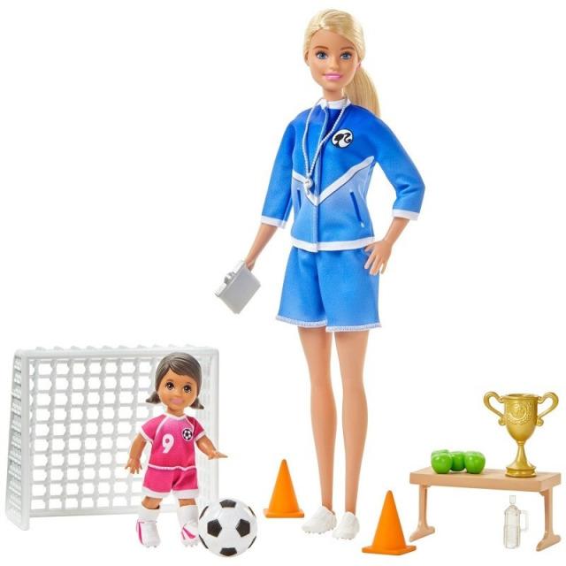 Obrázek produktu Mattel Barbie fotbalová trenérka s panenkou herní set blondýnka, GLM47