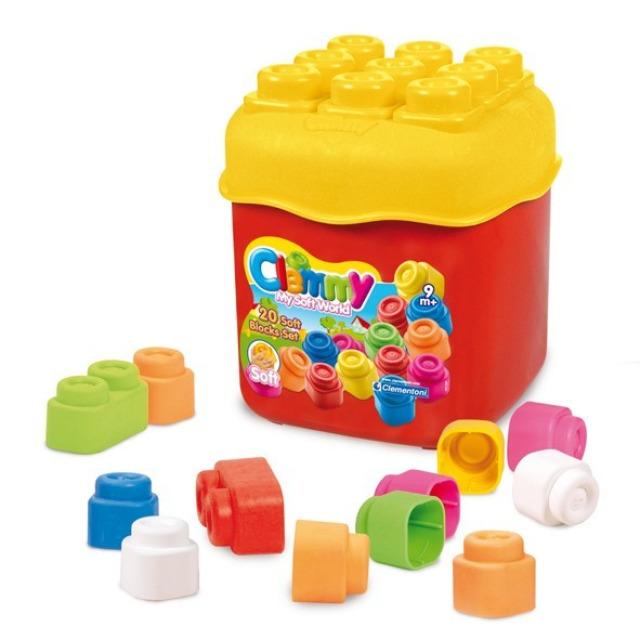 Obrázek produktu Clemmy Baby 20 barevných kostek v kyblíku, základní barvy