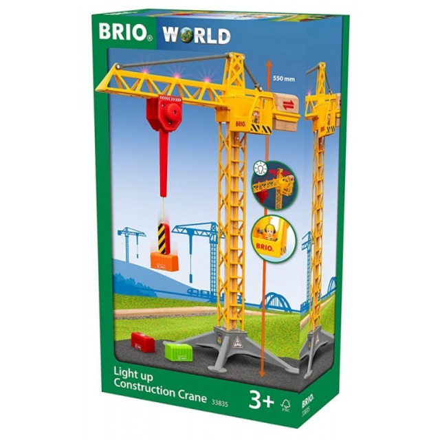 Obrázek produktu BRIO 33835 Svítící stavební jeřáb 55 cm