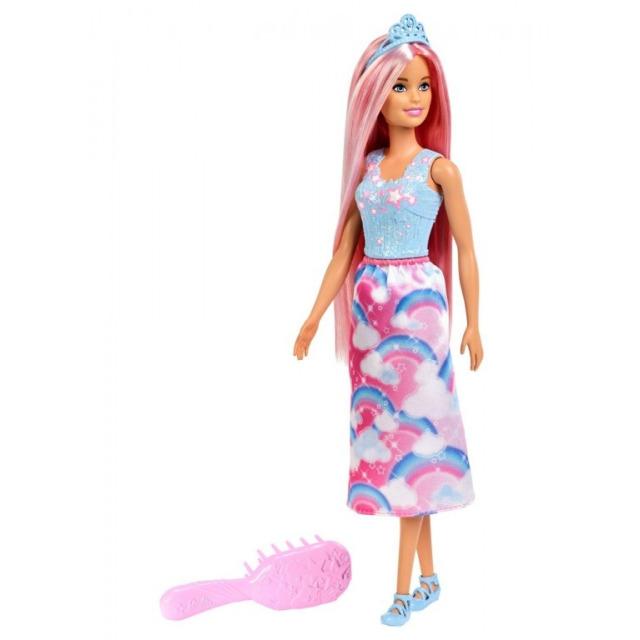 Obrázek produktu Barbie Dlouhovláska s hřebenem Růžové vlasy, Mattel FXR94
