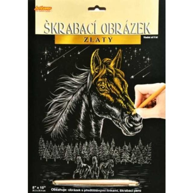 Obrázek produktu Škrábací obrázek gold Kůň