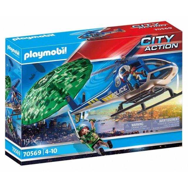 Obrázek produktu Playmobil 70569 Policejní vrtulník: Pronásledování na padáku