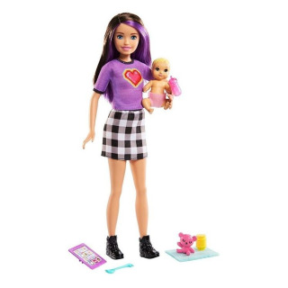 Obrázek 1 produktu Barbie Chůva Violet + miminko s doplňky, Mattel GRP11