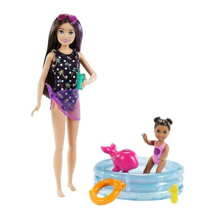 Obrázek 1 produktu Barbie Chůva herní set s bazénkem, Mattel GRP39