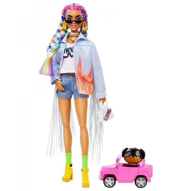 Obrázek produktu Barbie Extra Stylová dlouhovláska s pejskem v autě, Mattel GRN29