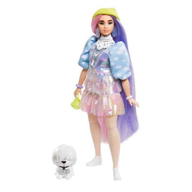 Obrázek produktu Barbie Extra Stylová dlouhovláska s bílým chlupáčem, Mattel GVR05