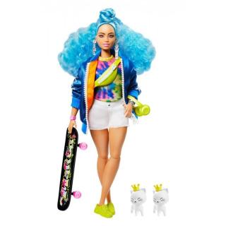 Obrázek 1 produktu Barbie Extra Stylová dlouhovláska s kočkama a skateboardem, Mattel GRN30