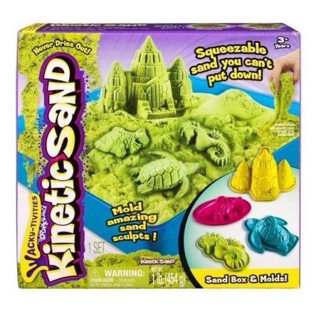Obrázek produktu Kinetic Sand Písečný zámek s formičkami a hrací vanou zelený 454g