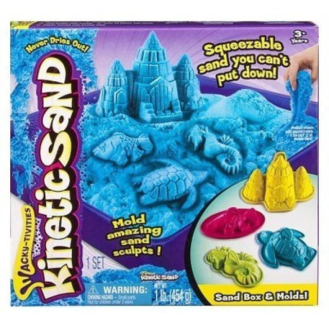 Obrázek produktu Kinetic Sand Písečný zámek s formičkami a hrací vanou modrý 454g