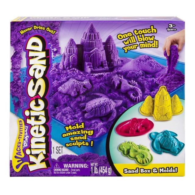 Obrázek produktu Kinetic Sand Písečný zámek s formičkami a hrací vanou fialový 454g