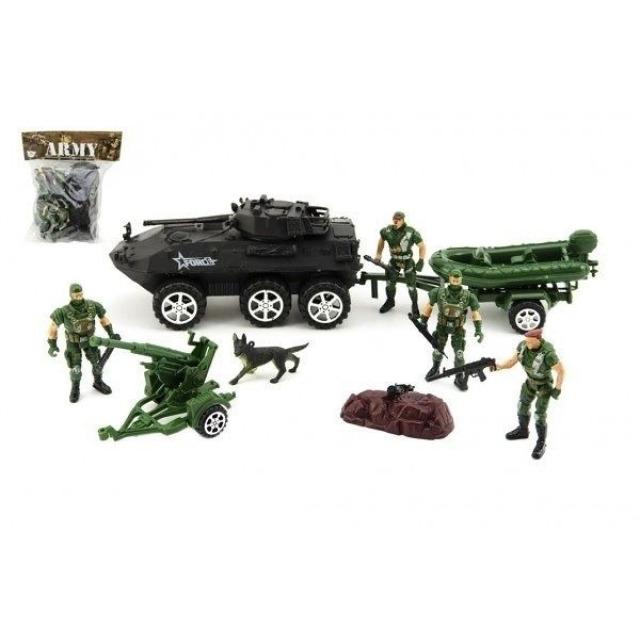 Obrázek produktu Figurky 4 vojáci 9 cm se psem a obrněným transportérem