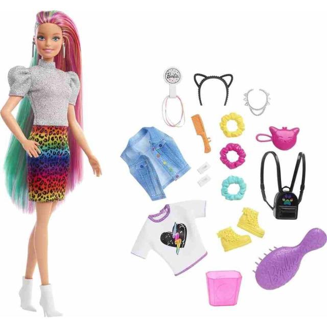 Obrázek produktu Barbie Leopardí panenka s duhovými vlasy a doplňky, Mattel GRN81