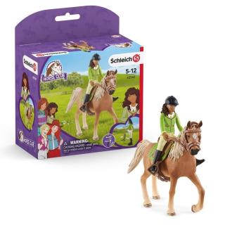 Obrázek 1 produktu Schleich 42542 Černovláska Sarah s pohyblivými klouby na koni
