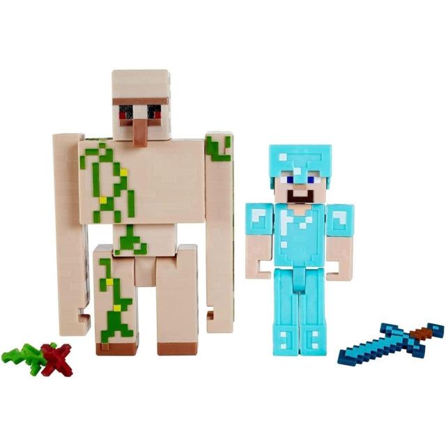 Obrázek produktu Minecraft  8 cm figurka dvojbalení STEVE a IRON GOLEM, Mattel GTP30