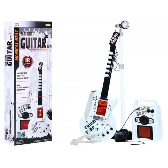 Obrázek produktu Dětská elektrická kytara bezdrátová + stojan, zesilovač a mikrofon