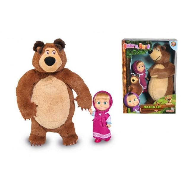 Obrázek produktu Máša a medvěd Set Míša plyšový 25cm a panenka Máša 12cm